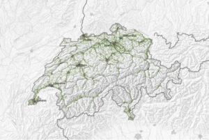 Übersichtskarte der öV-Güteklassen der Schweiz